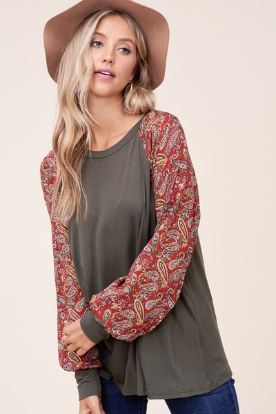 Olive Green with Paisley Woven Print Sleeves