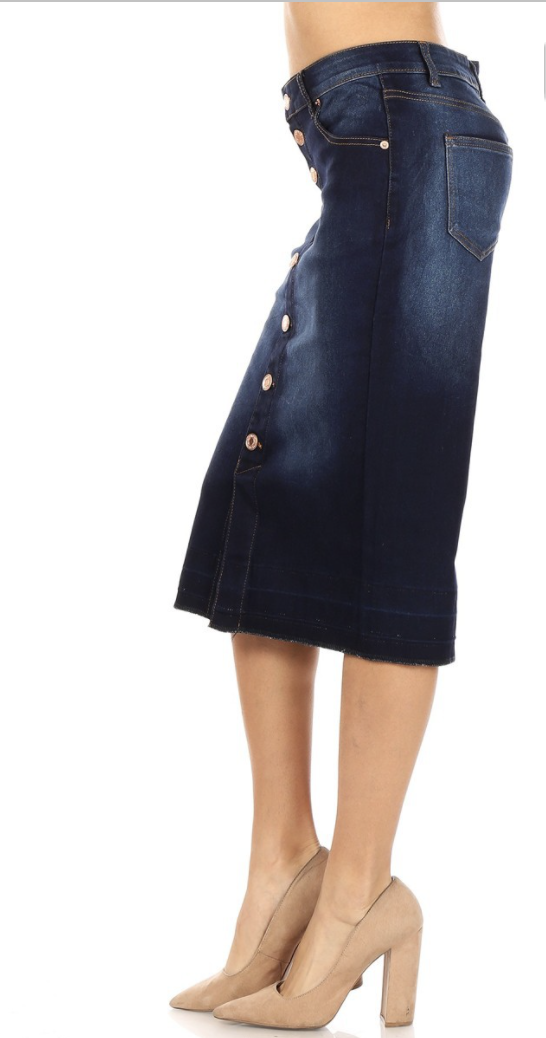 Denim Calf Length Pencil Skirt