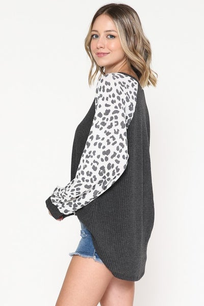 Gray with Snow Leopard Sleeves