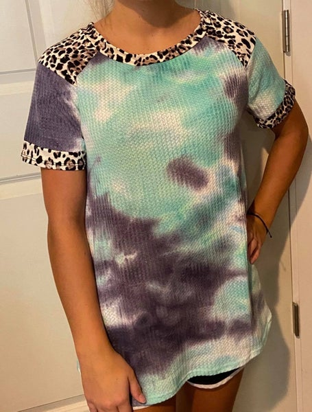 Teal and Navy Tie Dye with Leopard Sleeves