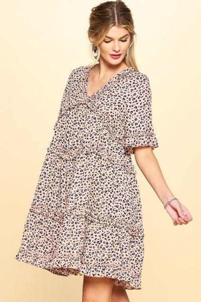 Cheetah Printed Tiered Dress