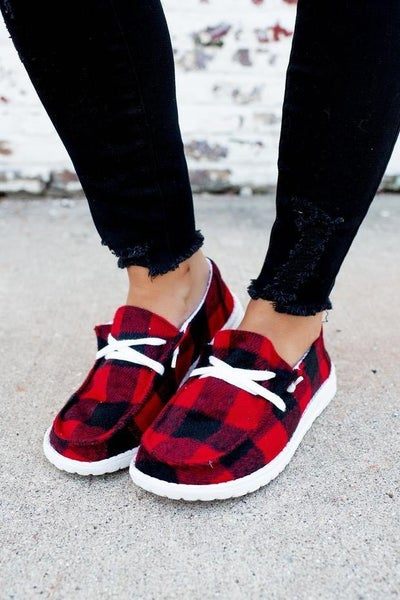Gypsy Jazz Red Flannel Loafers