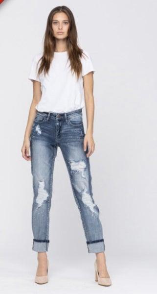 Judy Blue Destroyed Medium Wash Bleach Splatter Boyfriend Jeans