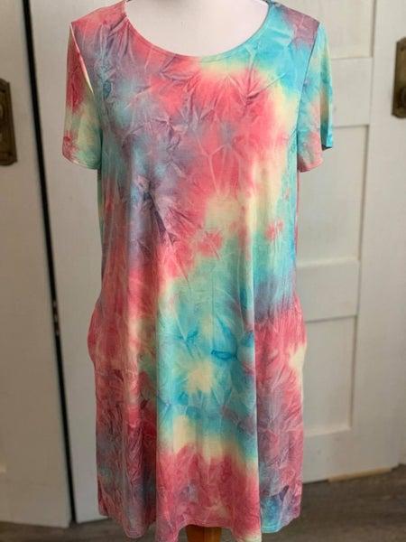 Honeyme Melting Jollyrancher Tie Dye Short Sleeve Dress