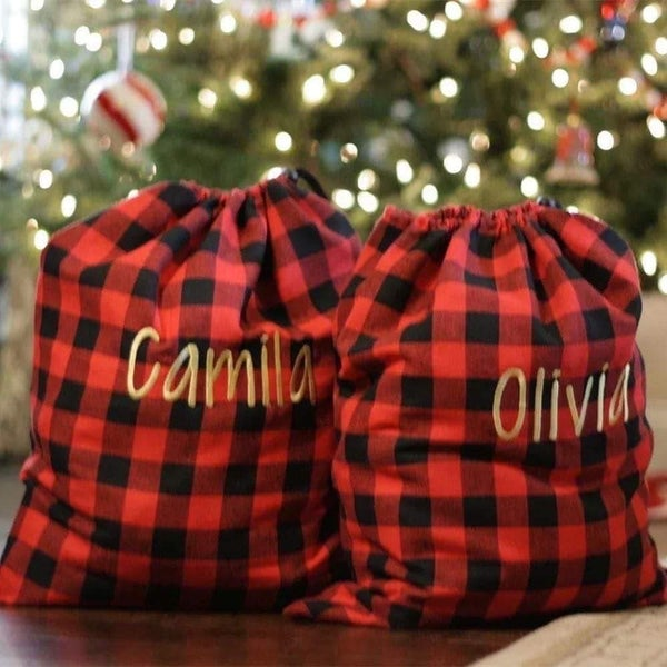 Santa's Plaid Bag