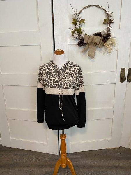 Three Block Leopard Hoodie