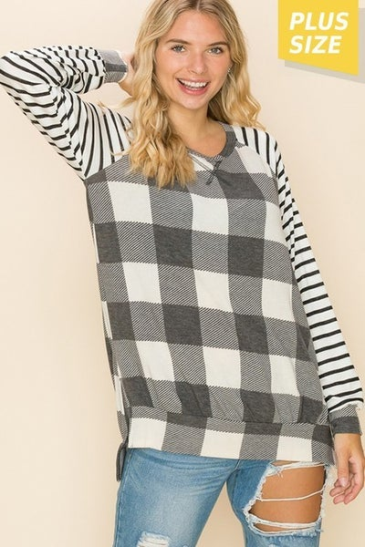 Charcoal & Cream Plaid With Striped Sleeves Top