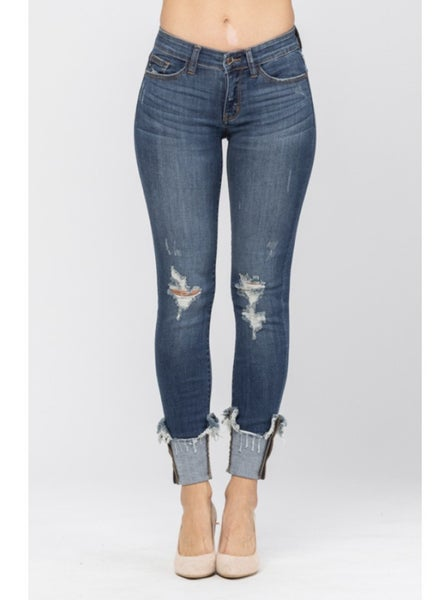 Judy Blue Dark Wash Destroyed Hem Cuffed Skinny Jeans
