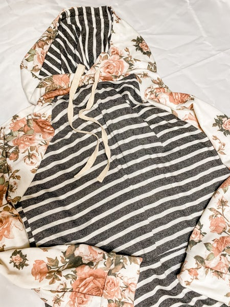 Long Sleeve Floral Stripe French Terry Hoodie