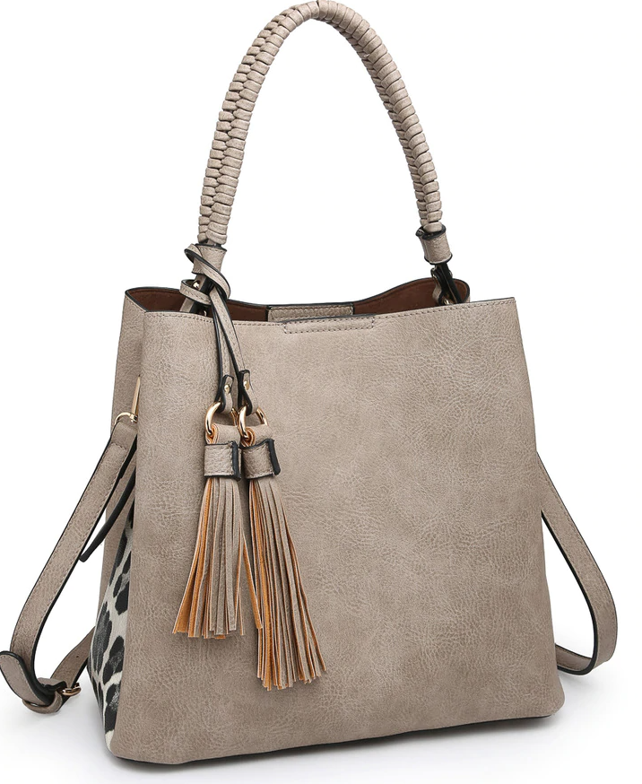 Jen & Co Animal Print Contrast Hobo