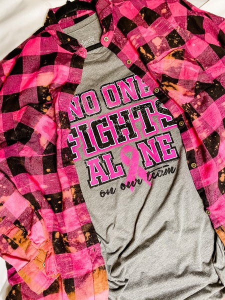 Hot Pink and Black Bleached Plaid Flannel