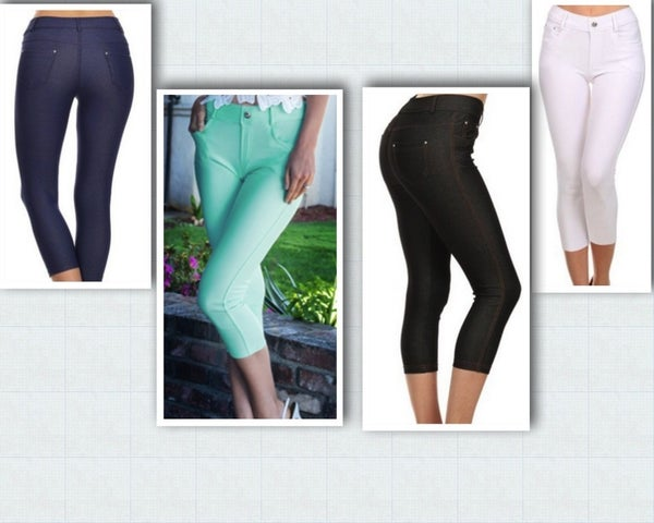 5 pocket Capri Jeggings with Bling Button Detail