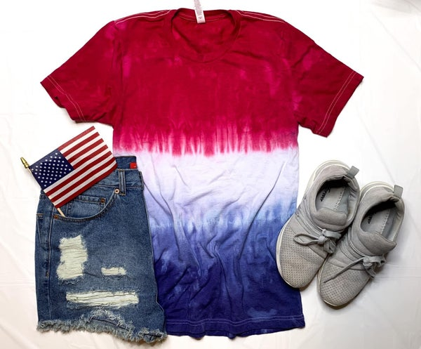 Red White & Blue Tie Dye CREW NECK TEE