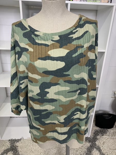 Honeyme Green and Brown Camo Shirt With Side Slits