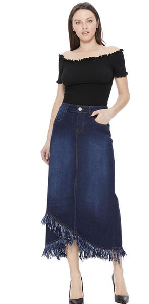 Denim Long Skirt With Hi-Low Fringe Bottom
