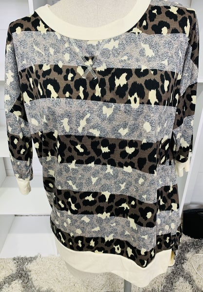Honeyme Leopard with Ghost Striping 3/4 Sleeve with Side Slits