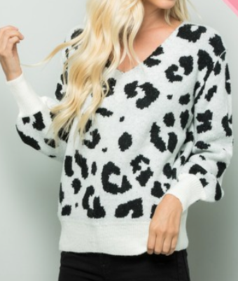 Ivory and Black Leopard Print V-Neck Sweater