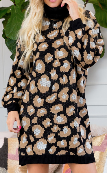Turtle Neck Leopard Print Sweater Tunic Dress