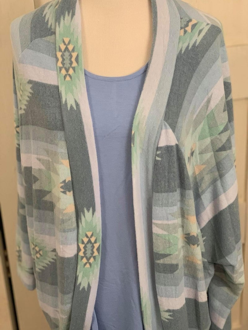 Honeyme Blankety Soft Blue and Sage Cardigan