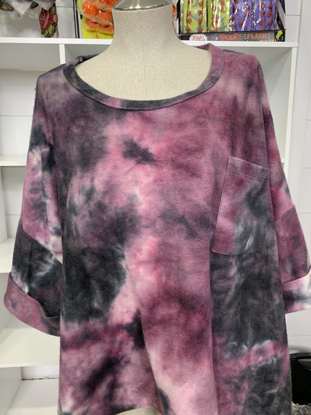 Honeyme Purple and Black Dolman Sleeve