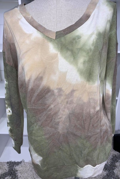 Honeyme Olive and Brown French Terry Tie Dye