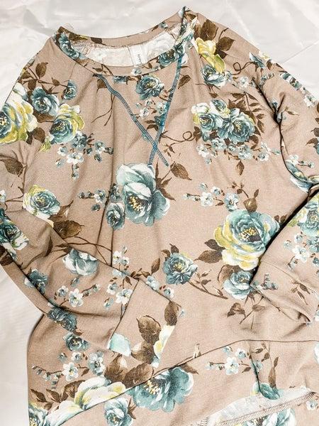 Honeyme Teal Floral and Taupe Weekender