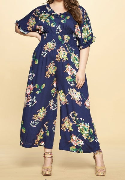 Oddi Navy Floral Jumpsuit with Wide Legs