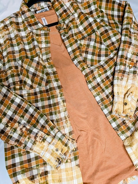 Hunter Green and Orange Bleached Plaid Flannel