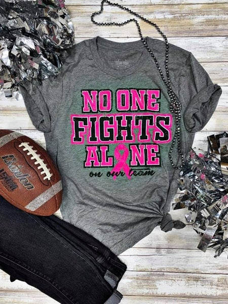 No One Fights Alone Pink Ribbon Graphic Tee