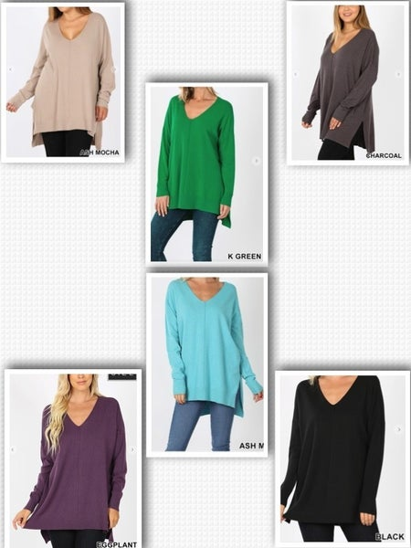 HI-LOW HEM V-NECK CENTER SEAM SWEATER