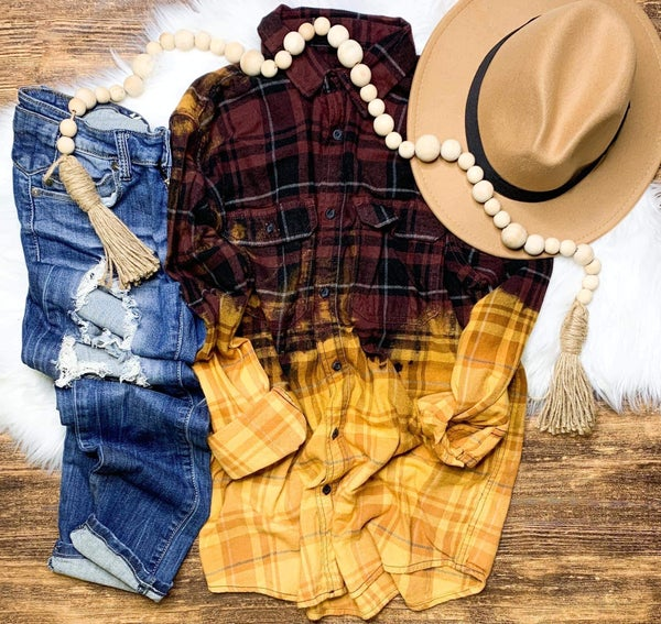 Burgundy & Yellow Dipped Plaid Flannel