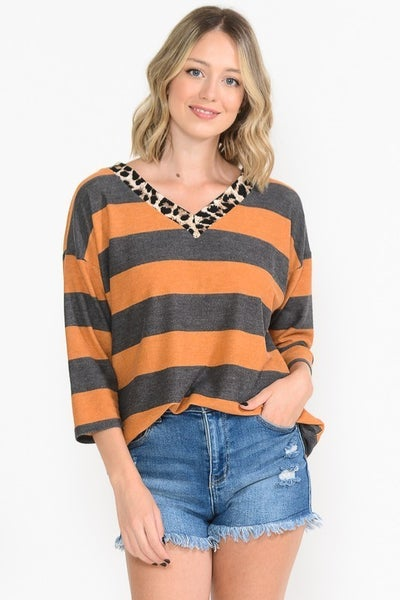 Burnt Orange and Gray Stripes