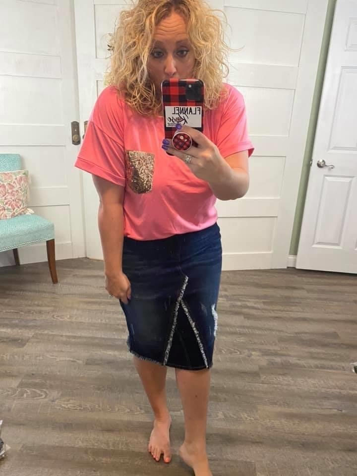 Dark Wash Mid Length Denim Skirt