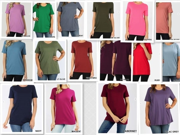 Zenana 95% Cotton Crew Neck Short Sleeve