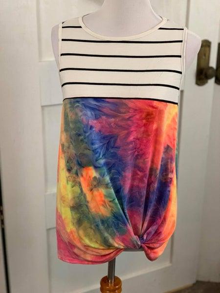 Splash Tie Dye Print and Stripe Combination Sleeveless Front Twist