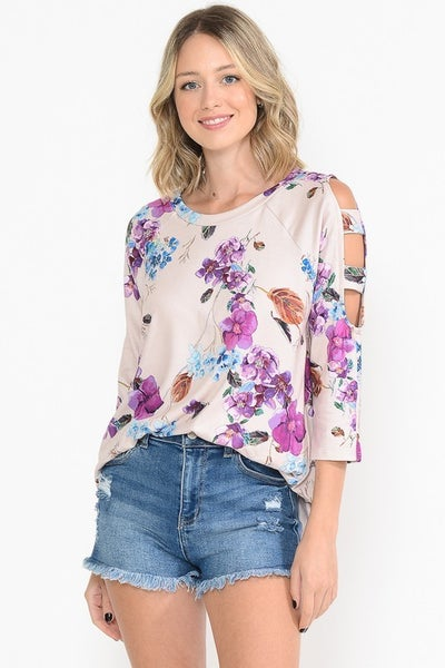 Floral Fusion Top with Slit Sleeves