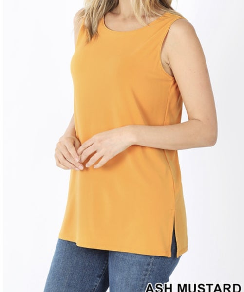 Basic Sleeveless Solid Top With Side Slits