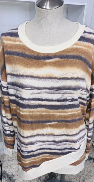 Honeyme Horizontal Earth tone Striped Sweatshirt