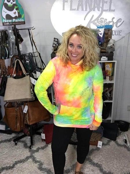 Neon Rainbow Tie Dye Hoodie