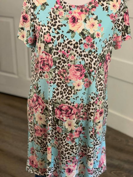 Honeyme Pink and Blue Floral and Leopard Bulgari Dress