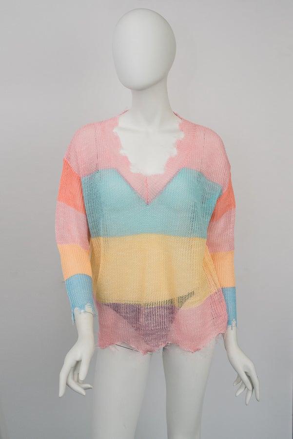 Sherbet open-work Sweater