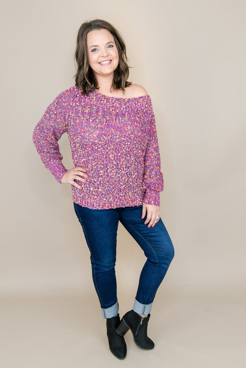 Purple Confetti Sweater