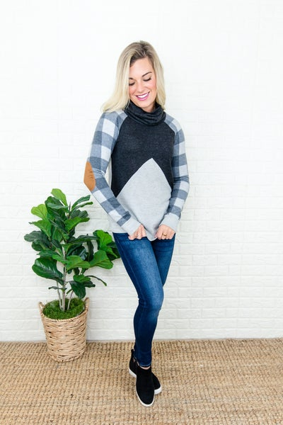 Gray Plaid Cowl Top  *IG EXCLUSIVE*