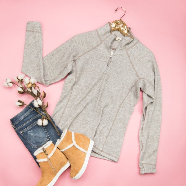 Taupe Half Zip Pullover *all sales final