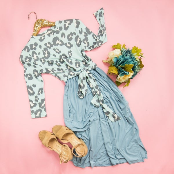 Flattering Blue Leopard Dress