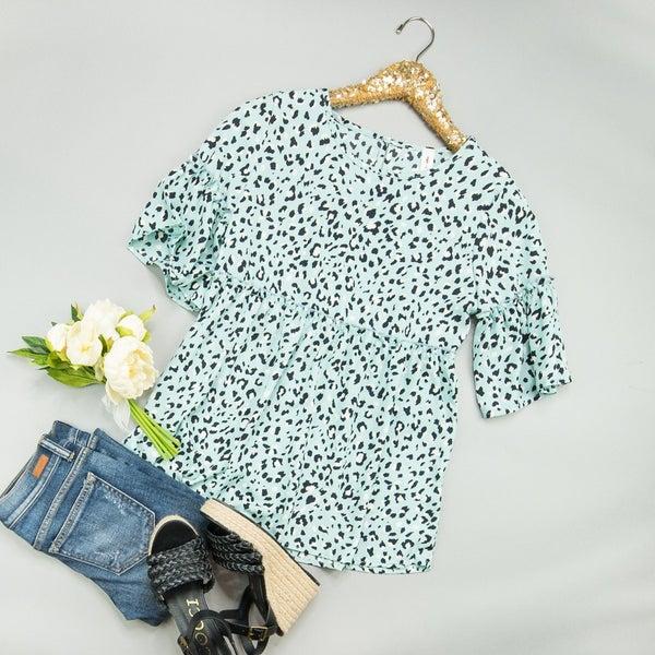 Mint Leopard Blouse