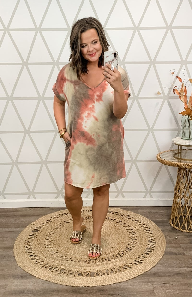 Coral Tie Dye Dress *all sales final*