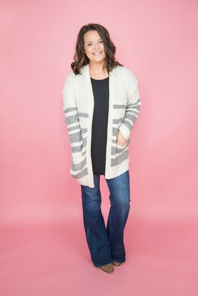 Cream & Gray Stripes Cardigan
