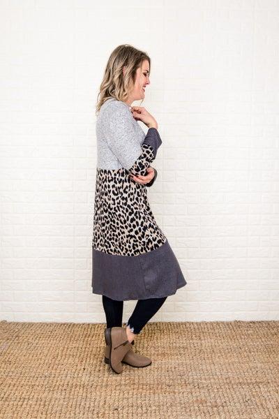 Duster Leopard Block Cardigan