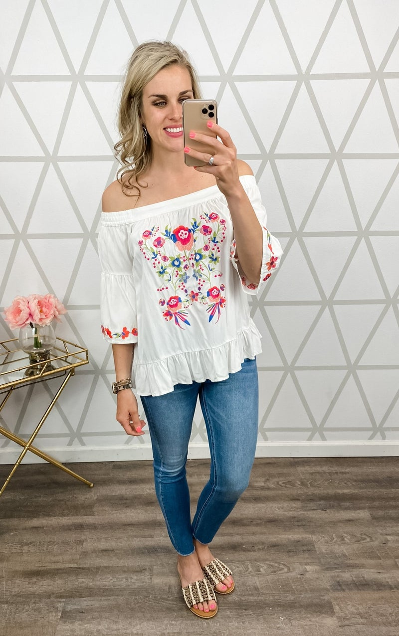 Sunset Embroidery Top *all sales final*
